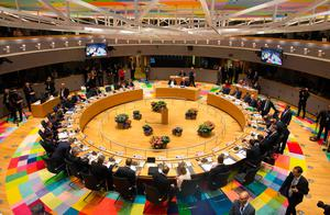 A picture taken in Brussels on April 29, 2017 shows a general view of the round table meeting of EU heads of state. AFP/Getty Images