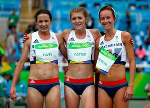 RIO DE JANEIRO, BRAZIL - AUGUST 12:  Joanne Pavey, Jessica Andrews and Beth Potter of Great Britain react after competing in the Women's 10000 metres final on Day 7 of the Rio 2016 Olympic Games at the Olympic Stadium on August 12, 2016 in Rio de Janeiro, Brazil.  (Photo by Ian Walton/Getty Images)