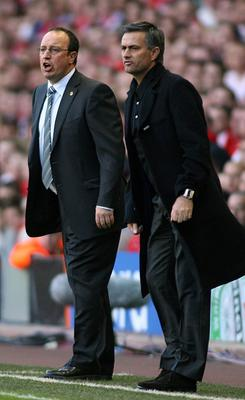 File photo dated 01/05/2007 of Jose Mourinho (right) and Rafael Benitez (left). PRESS ASSOCIATION Photo. Issue date: Monday June 3, 2013. Chelsea have confirmed Jose Mourinho as their new manager on a four-year contract. See PA story SOCCER Chelsea. Photo credit should read: Gareth Copley/PA Wire