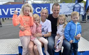 2017 Deep RiverRock Belfast City Marathon, Northern Ireland. Winner of the women's race Laura Graham with husband Thomas and children Leila, Darcy, Payton and Jaden pictured at the finish line at Ormeau park.at the finish line at Ormeau park.
