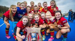 Banbridge Academy celebrate their Schools' Cup victory.