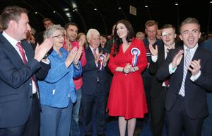 Press Eye - Belfast - Northern Ireland - 6th May 2016  Counting begins at the Titanic Convention centre in east Belfast for the North, East, South West constituencies in the 2016 Northern Ireland Assembly elections.  DUP candidate for south Belfast  Emma Pengelly is congratulated after her quota is announced.   Picture by Jonathan Porter/PressEye