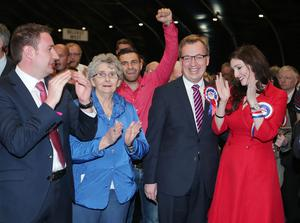 Press Eye - Belfast - Northern Ireland - 6th May 2016  Counting begins at the Titanic Convention centre in east Belfast for the North, East, South West constituencies in the 2016 Northern Ireland Assembly elections.  DUP candidates for south Belfast Christopher Stalford and Emma Pengelly is congratulated after her quota is announced.   Picture by Jonathan Porter/PressEye