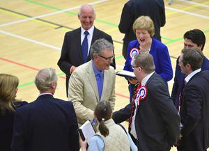 Pacemaker Press Belfast 06-05-2016: NI Assembly election: North Down & Strangford counts in Aurora Leisure Complex in Bangor. The process of counting votes in the Northern Ireland Assembly election has begun. UUP's Mike Nesbitt pictured after being elected, reaching the quota for election on the first count.   Picture By: Arthur Allison.