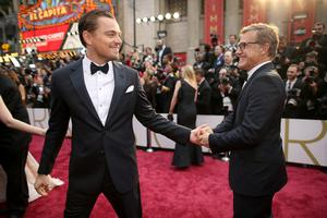 HOLLYWOOD, CA - MARCH 02:  Actors Leonardo DiCaprio (L) and Christoph Waltz attend the Oscars held at Hollywood & Highland Center on March 2, 2014 in Hollywood, California.  (Photo by Christopher Polk/Getty Images)