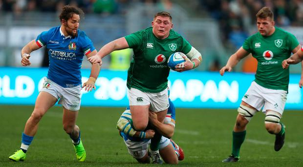 Tadhg Furlong of Ireland is brought down by Leonardo Ghiraldini of Italy during the Guinness Six Nations match between Italy and Ireland at Stadio Olimpico on February 24, 2019 in Rome, Italy. (Photo by David Rogers/Getty Images)