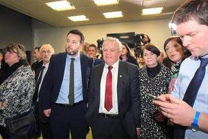 SDLP candidate John Dallat waiting for the final results with wife Anne and SDLP leader Colum Eastwood during the NI Assembly Election count for East Derry during March 2017. Picture Margaret McLaughlin  3-3-17