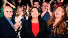 Sinn Fein leader Mary Lou McDonald celebrates with her supporters after being elected at the RDS Count centre on February 9, 2020 in Dublin