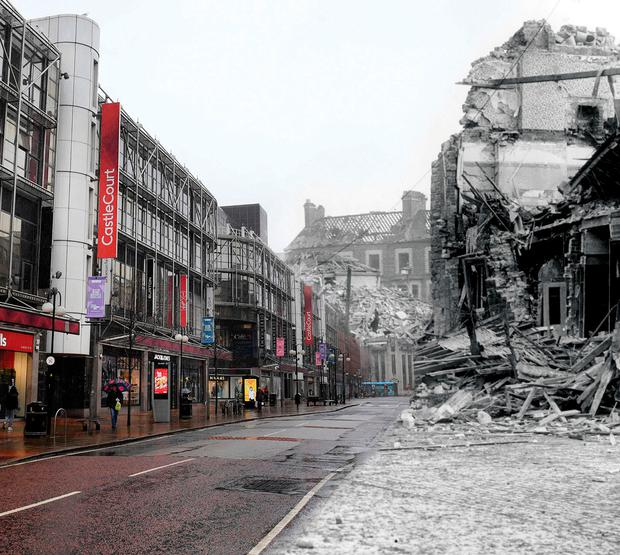 Belfast's empty streets during the coronavirus crisis, and (right) the Belfast Blitz in 1941