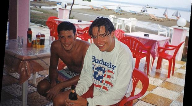 Stephen on a his first foreign holiday with friend Lawrence