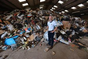 DUP Councillor Brian Kingston pictured inside the warehouse. Photo by Stephen Hamilton
