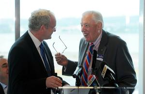 PACEMAKER BELFAST 4/6/2008. First Minister Ian Paisley, Deputy First Minister Martin McGuinness, as they officially opened the new £37million Stena Line Terminal at Belfast Port today. Picture Charles McQuillan/Pacemaker.