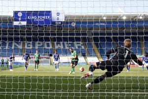 Kasper Schmeichel denied Neal Maupay from the spot (Andrew Boyers/NMC Pool)