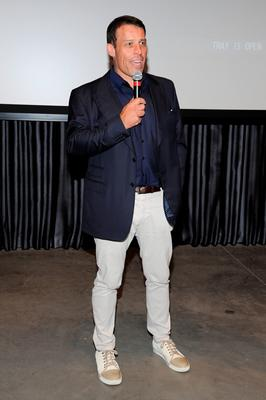 "SOUTHAMPTON, NY - JULY 10:  Tony Robbins speaks before the DuJour Media's Jason Binn, Leslie Farrand and Fiona Murray hosted Screening and After-Party at Parrish Art Museum Celebrating Director Joe Berlinger's ""Tony Robbins: I Am Not Your Guru"" on July 10, 2016 in Southampton, New York.  (Photo by Matthew Eisman/Getty Images for DuJour)"