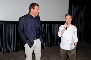 "SOUTHAMPTON, NY - JULY 10:  Tony Robbins and CEO of DuJour Media Jason Binn speak before the DuJour Media's Jason Binn, Leslie Farrand and Fiona Murray hosted Screening and After-Party at Parrish Art Museum Celebrating Director Joe Berlinger's ""Tony Robbins: I Am Not Your Guru"" on July 10, 2016 in Southampton, New York.  (Photo by Matthew Eisman/Getty Images for DuJour)"