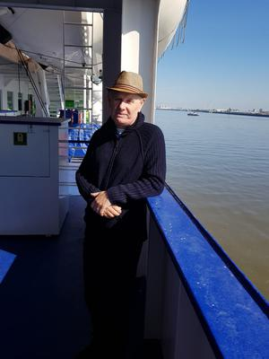 John Price pictured on the ferry home from Liverpool to Belfast.