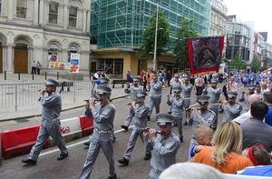 Pacemaker Press 12-07-2019:   Twelfth of July parades are taking place in 18 locations across Northern Ireland. Tens of thousands of people are expected at the marches, which mark the anniversary of the Battle of the Boyne. The day's longest parade, in Belfast, stretches to six miles (9.5km) - nine districts will take part, accompanied by about 60 bands. As part of it, a wreath-laying ceremony took place at the Cenotaph at Belfast City Hall. Picture By: Arthur Allison/Pacemaker Press.