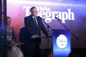 Press Eye - Belfast - Northern Ireland - 25th January 2016 -   Belfast Telegraph Sports Awards sponsored by Linwoods 2015 at the Ramada Hotel, Belfast.  Steven Beacom pictured at the awards night.   Picture by Kelvin Boyes/ Press Eye
