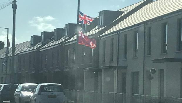 UVF flags erected recently in south Belfast. Credit: Emmet McDonough-Brown