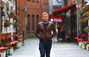 Kevin Scott / Belfast Telegraph   Wednesday 11th March 2015 - Patrick Kielty  Pictured is Comedian Patrick Kielty in Belfast City Centre for a photo-shoot with the Belfast Telegraph  Picture - Kevin Scott / Belfast Telegraph