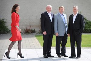Northern Ireland Secretary Theresa Villiers (left), Deputy First Minister Martin McGuinness (second left), Irish Taoiseach Enda Kenny (second right) and Northern Ireland First Minister Peter Robinson (right) arrive at this year's G8 Summit on Lough Erne near Enniskillen in Northern Ireland. PRESS ASSOCIATION Photo. Picture date: Monday June 17, 2013. See PA story POLITICS G8. Photo credit should read: Stefan Rousseau/PA Wire