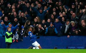 "Everton's Ademola Lookman celebrates scoring his side's fourth goal during the Premier League match at Goodison Park, Liverpool. PRESS ASSOCIATION Photo. Picture date: Sunday January 15, 2017. See PA story SOCCER Everton. Photo credit should read: Peter Byrne/PA Wire. RESTRICTIONS: EDITORIAL USE ONLY No use with unauthorised audio, video, data, fixture lists, club/league logos or ""live"" services. Online in-match use limited to 75 images, no video emulation. No use in betting, games or single club/league/player publications."