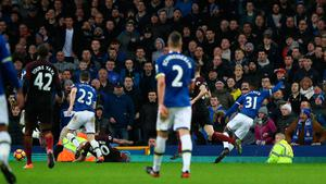 "Everton's Ademola Lookman scores his side's fourth goal during the Premier League match at Goodison Park, Liverpool. PRESS ASSOCIATION Photo. Picture date: Sunday January 15, 2017. See PA story SOCCER Everton. Photo credit should read: Peter Byrne/PA Wire. RESTRICTIONS: EDITORIAL USE ONLY No use with unauthorised audio, video, data, fixture lists, club/league logos or ""live"" services. Online in-match use limited to 75 images, no video emulation. No use in betting, games or single club/league/player publications."
