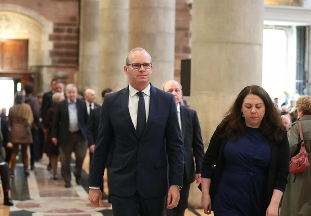Press Eye Northern Ireland  Wednesday 24th April 2019   Simon Coveney TD at  the funeral and service of thanksgiving for the life of  journalist Lyra McKee at St AnneÄôs Cathedral, Donegall Street, Belfast.  Lyra McKee was murdered in Creggan in Derry on Thursday 18th April.  Photo by Kelvin Boyes / Press Eye.