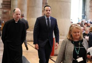 Press Eye Northern Ireland  Wednesday 24th April 2019   Irish Taoiseach Leo Varadkar pictured at the funeral and service of thanksgiving for the life of  journalist Lyra McKee at St Anne's Cathedral, Donegall Street, Belfast.  Lyra McKee was murdered in Creggan in Derry on Thursday 18th April.  Photo by Kelvin Boyes / Press Eye.