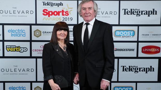 Press Eye - Belfast - Northern Ireland - 20th January  2020   Eleanor and Pat Jennings pictured at the 2019 Belfast Telegraph Sport Awards at the Crowne Plaza Hotel in Belfast.  Photo by Kelvin Boyes / Press Eye.