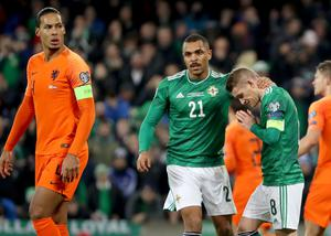 Northern Ireland's Steven Davis misses his penalty after Netherlands' Joel Veltman uses his arm to control the ball during Saturday night's UEFA Euro 2020 Qualifier at the National Stadium, Belfast.     Photo by William Cherry/Presseye