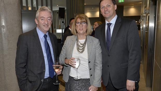 17th May 2018 John McGrillen,Janet Gault and Stephen McNally pictured at the Grand opening of the new Maldron Hotel in Brunswick street in Belfast  Mandatory Credit: Presseye/Stephen Hamilton