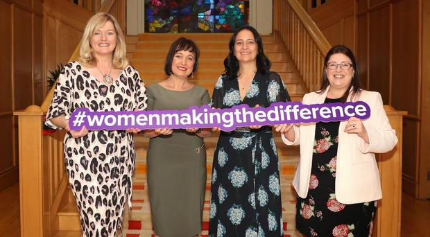 Sinead Dooley, Deputy CEO Irish Rural Link, Fiona O'Loughlin,TD, Catherine Martin TD, Chair Of The Womens Parliamentary Caucus and Kellie Armstrong MLA, Deputy Chairperson Northern Ireland Assembly Women's Caucus (Press Eye/Declan Roughan/PA)