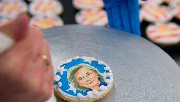 OAKMONT, PA - NOVEMBER 8:  A Hillary Clinton cookie is prepared before sale at the Oakmont Bakery on November 8, 2016 in Oakmont, Pennsylvania.  Trump leads the cookie-purchase tally with 63% of the purchases, with a total of 2609 Trump cookies and 1512 Hillary cookies sold as of election day as Americans go to the polls to decide on their next president.  (Photo by Jeff Swensen/Getty Images)
