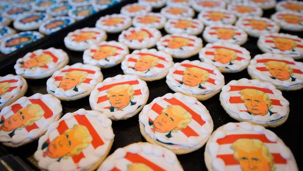 OAKMONT, PA - NOVEMBER 8: Donald Trump cookies are on sale at the Oakmont Bakery on November 8, 2016 in Oakmont, Pennsylvania.  Trump leads the cookie-purchase tally with 63% of the purchases, with a total of 2609 Trump cookies and 1512 Hillary cookies sold as of election day as Americans go to the polls to decide on their next president.  (Photo by Jeff Swensen/Getty Images)