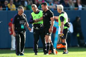 CHICAGO, IL - NOVEMBER 05: Ryan Crotty of the New Zealand All Blacks leaves the field injured during the international match between Ireland and New Zealand at Soldier Field on November 5, 2016 in Chicago, United States.  (Photo by Phil Walter/Getty Images)