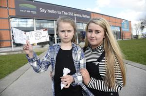 Angry Little Mix fans pictured at the SSE Arena after todays concerts were cancelled due to illness of one of the band members. Megan and Lilly Doherty Photograph: Stephen Hamilton /Presseye