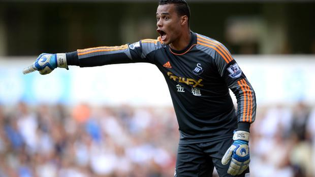 LONDON, ENGLAND - AUGUST 25:  Goalkeeper Michel Vorm of Swansea directs his defence during the Barclays Premier League match between Tottenham Hotspur and Swansea City at White Hart Lane on August 25, 2013 in London, England.  (Photo by Michael Regan/Getty Images)