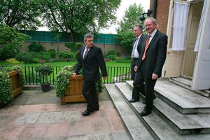 File photo dated 06/06/08 of Prime Minister Gordon Brown (left) with Northern Ireland's First Minister Peter Robinson and Deputy First Minister, Martin McGuiness (right) in the garden at 10 Downing Street, London. PA