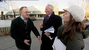 Harry Gregg with a local farmer who was one of the first people on the scene of the crash