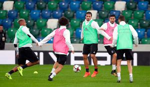 Welcome Mats: Germany's Mats Hummels (centre) and Emre Can during the training session at Windsor Park
