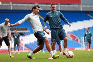 Republic of Ireland's Stephen Kelly and Robbie Brady during a training session at the Cardiff City Stadium, Cardiff. David Davies/PA Wire.