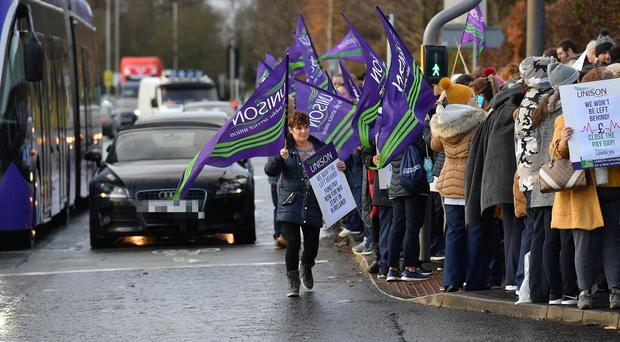 Health Workers pictured at the picket line at the Ulster Hospital in Dundonald. Mandatory Credit : Presseye/Stephen Hamilton