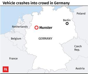 Map locates Munster in Germany where a vehicle crashed into crowd