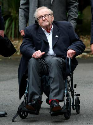Former Stormont MP Ivan Cooper  attends the funeral of Dr Edward Daly at St Eugene's Cathedral in Londonderry. PRESS ASSOCIATION Photo. Picture date: Thursday August 11, 2016. The former Bishop of Derry who came to the aid of a dying civil rights protester on Bloody Sunday and waved a white handkerchief in an enduring image of the Troubles died on Monday aged 82.  See PA story ULSTER Daly. Photo credit should read: Niall Carson/PA Wire