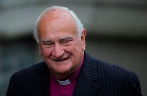Former Church of Ireland Primate Dr Robin Eames attends the funeral of Dr Edward Daly at St Eugene's Cathedral in Londonderry. PRESS ASSOCIATION Photo. Picture date: Thursday August 11, 2016. The former Bishop of Derry who came to the aid of a dying civil rights protester on Bloody Sunday and waved a white handkerchief in an enduring image of the Troubles died on Monday aged 82.  See PA story ULSTER Daly. Photo credit should read: Niall Carson/PA Wire