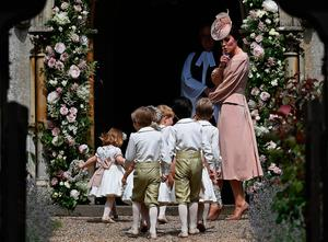The Duchess of Cambridge, arrives with pageboys and flower girls for her sister Pippa Middleton's wedding at St Mark's church in Englefield, Berkshire, to millionaire groom James Matthews at an event dubbed the society wedding of the year. PRESS ASSOCIATION Photo. Picture date: Saturday May 20, 2017. See PA story ROYAL Pippa. Photo credit should read: Justin Tallis/PA Wire