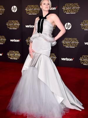 """Gwendoline Christie arrives at the world premiere of """"Star Wars: The Force Awakens"""" at the TCL Chinese Theatre on Monday, Dec. 14, 2015, in Los Angeles. Christie plays the role of Captain Phasma in the film. (Photo by Jordan Strauss/Invision/AP)"""