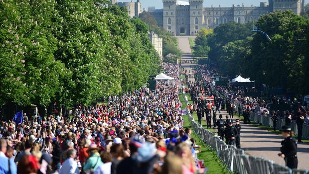 Grandstand view: Thousands line the route to Windsor Castle (David Mirzoeff/PA)
