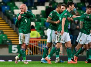 BELFAST, NORTHERN IRELAND - NOVEMBER 18: Liam Boyce of Northern Ireland celebrates after scoring their team's first goal during the UEFA Nations League group stage match between Northern Ireland and Romania at Windsor Park on November 18, 2020 in Belfast, Northern Ireland. A limited number of spectators (1060) will be in attendance as Covid-19 pandemic restrictions are eased in Northern Ireland. (Photo by Charles McQuillan/Getty Images)